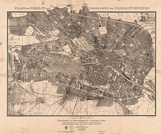 Hobrecht-Plan - The 1862 plan as a map (scale of 1:15'384)