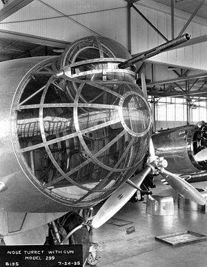 Boeing B-17 Flying Fortress - Gun turret atop the Model 299's nose glazing
