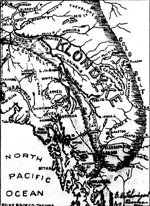 """Ramona (sternwheeler 1892) - Booster map of 1898 showing claimed proximity of the """"Gold Belt"""" to the Stikine river steamboat terminus."""