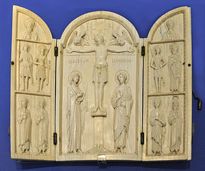Kyros of Constantinople - The Borradaile Triptych, ivory, Constantinople, ca. 900–1000 AD (bequeathed by C. Borradaile). Motives: Central panel carved with the Crucifixion, the Virgin and St John, and above, the half-length figures of the archangels Michael and Gabriel; on the left leaf, from top to bottom: St Kyros; St George and St Theodore Stratilates; St Menas and St Prokopios; on the right leaf: St John; St Eustathius and St Clement of Ankyra; St Stephen and St Kyrion. On the reverse are two inscribed crosses and roundels containing busts of Sts Joachim and Anna in the centres, with Sts Basil and Barbara, and John the Persian and Thekla at the terminals.