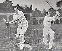 Two before and after pictures of a cricketer pulling a ball