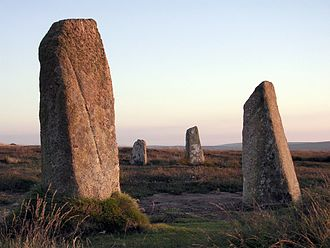 Boskednan stone circle - Restored stones at the Boskednan circle