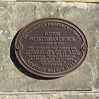 Boston Presbyterian Church - Image: Boston church heritage plaque