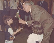 Boudiaf few days before his assassination Boudiaf with some Algerian kids.jpg