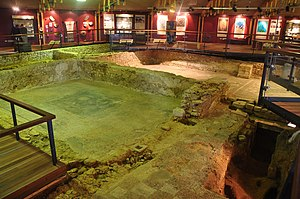 Brading Roman Villa - Inside the covered building of the museum