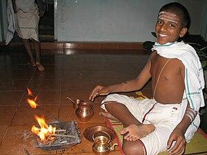 A Brahmin in Tamil Nadu performing a ritual (h...