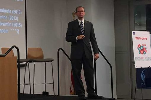 FCC CIO David A. Bray speaking again at the 2015 DigitalGov Citizen Services Event, providing a keynote address on leadership and the internet of everything, including a summary of potential social impacts from A to Z.