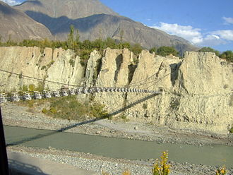Hunza River - Hunza river view from Karakorum University, Danyor Bridge