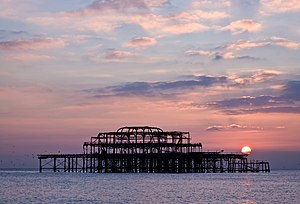 Brighton's West Pier remains at sunset.