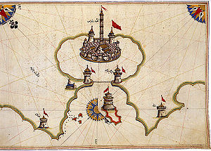 Brindisi - 16th century map of Brindisi by Piri Reis