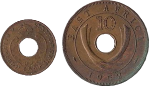 East African Currency Board - East African shilling 1 cent and 10 cent coins (1952)