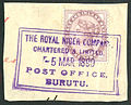 British stamps used at the Royal Niger Company, Burutu 1890s.jpg