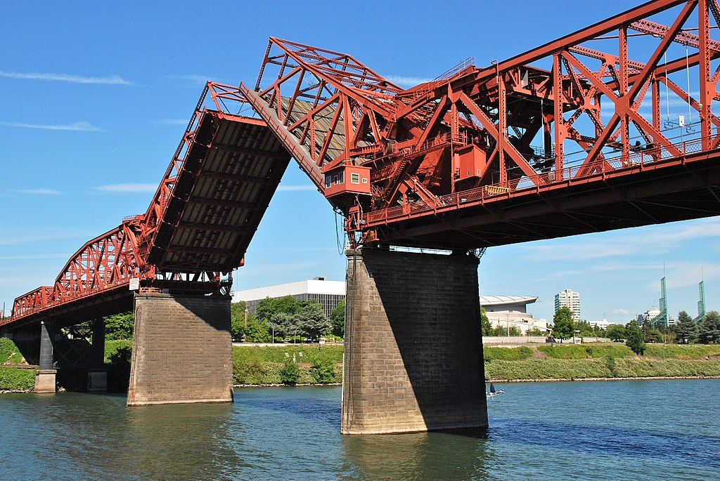 Broadway Bridge in Portland with bascule span open - viewed from west