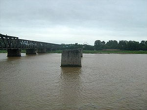 Yalu River - Remains of bridge between Dandong and Sinuiju destroyed during the Korean War