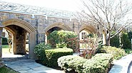 Bronxville NY church courtyard