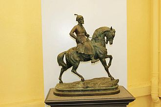 Yamai Temple - Bronze statue of Shivaji Maharaj in the collection of the Shri Bhavani Museum of Aundh