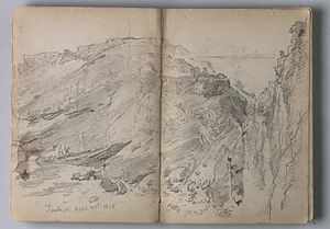"Sketchbook - ""Sketchbook of English Landscape and Coastal Scenery,"" by the artist William Trost Richards, at the Brooklyn Museum"