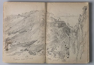 """Sketchbook - """"Sketchbook of English Landscape and Coastal Scenery,"""" by the artist William Trost Richards, at the Brooklyn Museum"""