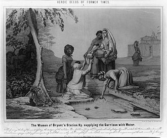 Bryan Station - Illustration of the women of Bryan Station getting water while Native Americans watch, just before besieging the settlement.