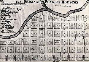 Buffalo Bayou - Image: Buffalo Bayou map 1869