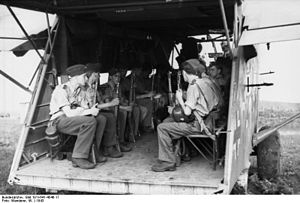 Gotha Go 242 - German troops seated in a Go 242, Russia, 1943. The glider is fitted with defensive machine guns