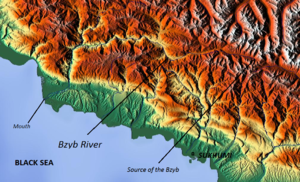 Bzyb River - Map of the Bzyb River region