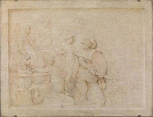 Aeneas hindres af Venus i sin hævn mod Helena, som har søgt tilflugt ved Cybeles alter