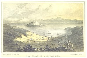 Yerba Buena, California - Yerba Buena facing out to Yerba Buena Cove and Yerba Buena Island in the 1840s.