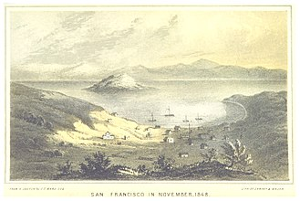 Yerba Buena, California - San Francisco in 1848, not long after being renamed from Yerba Buena, looking to the north-east over Yerba Buena Cove toward Yerba Buena Island.