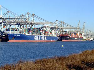 CMA CGM Norma IMO 9299812 & TsingTao Express IMO 9320702, Port of Rotterdam, Holland, 06JAN2009 pic1.JPG