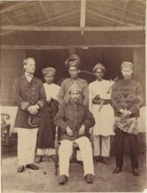 """Klang War - Tengku Kudin and Raja Ismail with Captain Powlett. H.M.S. """"Avon""""."""