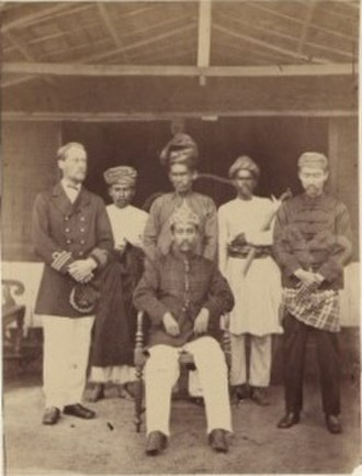 "Klang War - Tengku Kudin and Raja Ismail with Captain Powlett. H.M.S. ""Avon""."