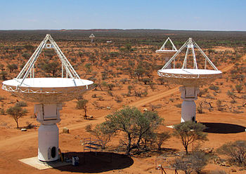 English: CSIRO's ASKAP antennas at the Murchis...