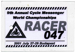 Spoke card - Racer spoke card from the Cycle Messenger World Championships, Budapest, Hungary, 2001
