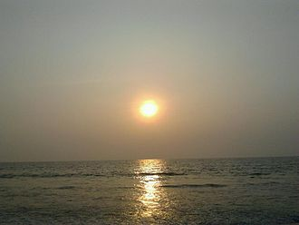 Ustad Hotel - Sun setting over Calicut beach. A large part of the film takes place on the beach at Calicut.