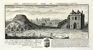 Cambridge Castle - An engraving of Cambridge Castle in 1730, including the motte (l) and the gatehouse gaol (r)
