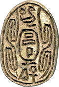 "Scarab seal inscribed with ""the son of Ra, Sheshi, given life"""