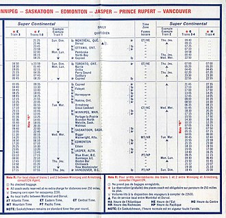 Time in Canada - Canadian National timetable from 1975 using the 24-hour clock