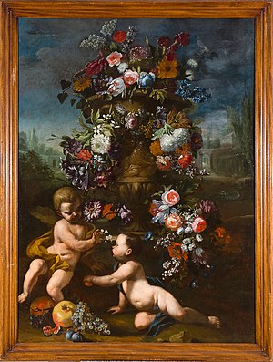 """Carel de Vogelaer - Carel de Vogelaer called Carlo dei Fiori (1653-8 August 1695), """"Flower pot with two putti and fruit"""", Oil on canvas 160 × 118 cm, Private collection."""