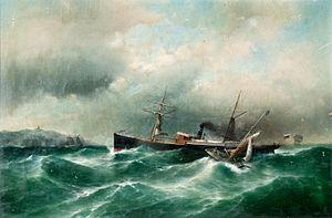 Carl Justus Fedeler - Dampfschiff 'Capella' in stürmischer See.jpg