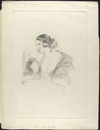 Caroline Norton - Portrait engraving of Caroline Norton from the frontispiece of one of her books