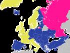 Europarådets medlemmer (Gul: Opprinnelige medlemmer; Blå: Senere tiltrådte medlemmer)
