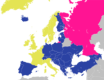Gold:founding member. Blue:Later (current) full members.