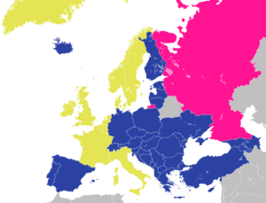 Demographics of Europe - Council of Europe nations, with founding nations in yellow.