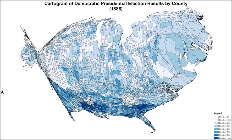 CartogramDemocraticPresidentialCounty1888Colorbrewer