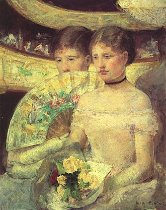 Woman with a Pearl Necklace in a Loge - Mary Cassatt, The Loge, oil on canvas, 32 in x 26 in, 1880, Museum of Fine Arts, Boston