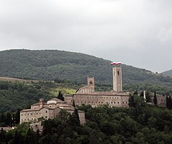 Castle of Monte Nero, on the right the cathedral of St. Severinus with its bell tower on the left the Smeducci Tower.