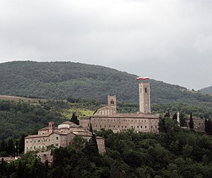 San Severino Marche - Castle of Monte Nero, on the right the cathedral of St. Severinus with its bell tower on the left the Smeducci Tower.
