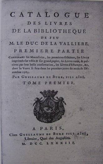 Duchy of La Vallière - Image: Catalogue vente La Vallière