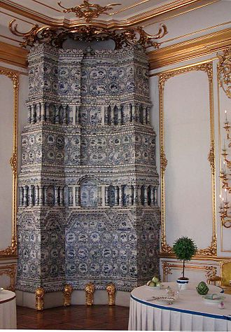 Stove - Tile stove (for heating) in the dining room of the Catherine Palace, Saint Petersburg.